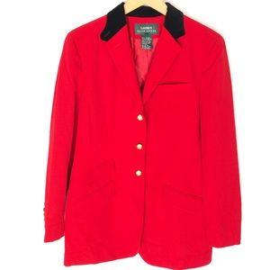 Lauren Ralph Lauren Wool Red Blazer Gold Buttons 8